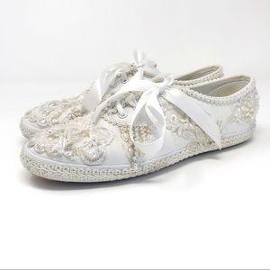 Keds white wedding embellished bead ribbon sneaker